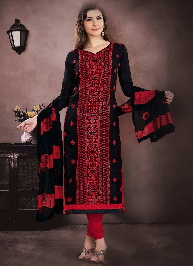 Black and Red Embroidered Work Trendy Straight Salwar Suit