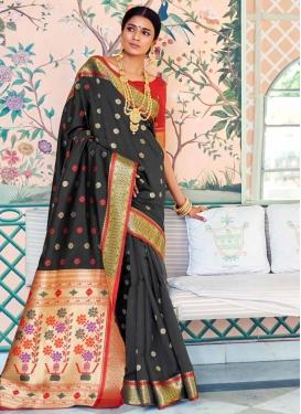 Black and Red Handloom Silk Trendy Classic Saree