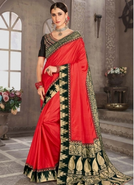 Black and Red Jacquard Trendy Classic Saree