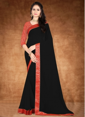 Black and Red Lace Work Designer Traditional Saree