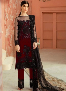 Black and Red Net Pant Style Pakistani Salwar Kameez