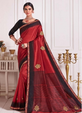Black and Red Poly Silk Contemporary Style Saree