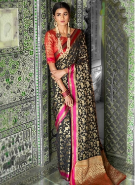 Black and Red Thread Work Contemporary Saree