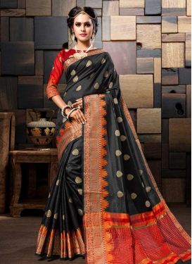 Black and Red Thread Work Trendy Saree