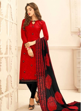 Black and Red Trendy Churidar Salwar Kameez For Casual