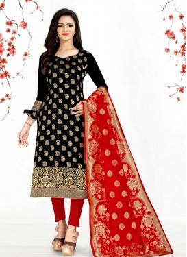 Black and Red Trendy Churidar Salwar Suit