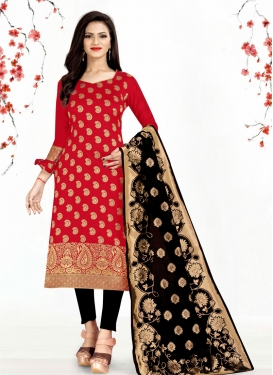 Black and Red Trendy Straight Salwar Suit