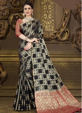 Black and Red Woven Work Contemporary Style Saree