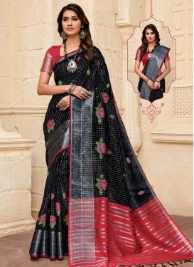 Black and Red Woven Work Designer Contemporary Saree