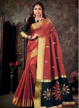 Black and Red Woven Work Designer Contemporary Style Saree