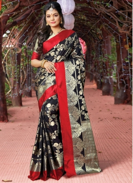 Black and Red Woven Work Traditional Saree