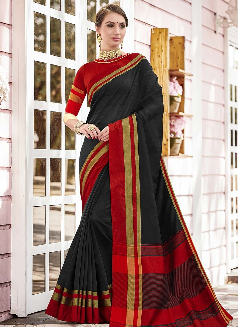 Black and Red Woven Work Trendy Classic Saree
