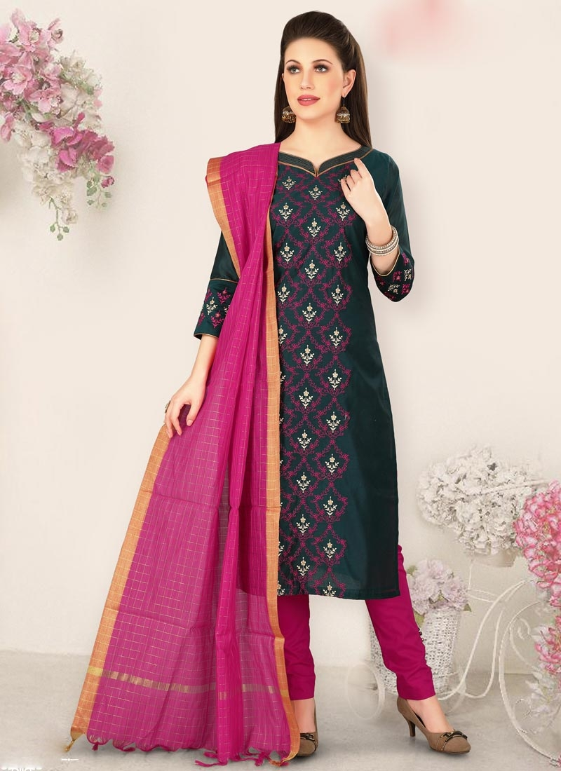 Black and Rose Pink Chanderi Silk Pant Style Pakistani Suit