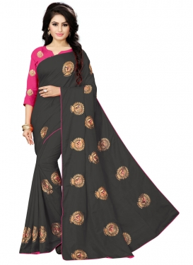 Black and Rose Pink Embroidered Work Art Silk Traditional Designer Saree
