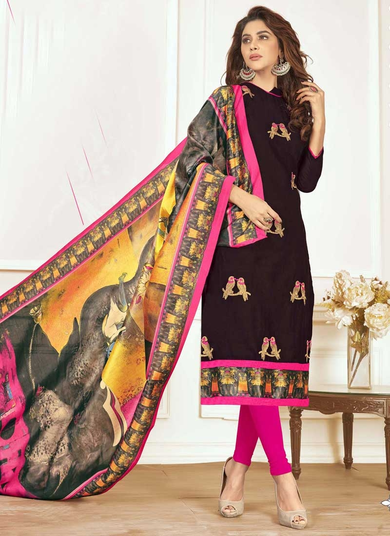 Black and Rose Pink Embroidered Work Cotton Trendy Straight Salwar Suit