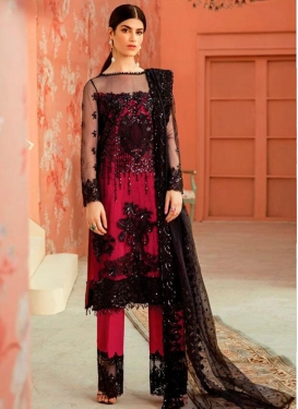 Black and Rose Pink Net Pant Style Pakistani Salwar Kameez