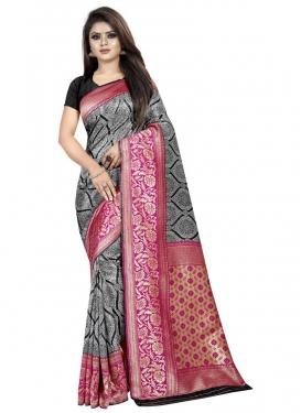 Black and Rose Pink Thread Work Classic Saree