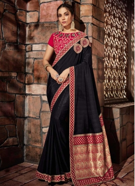 Black and Rose Pink Traditional Designer Saree