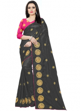 Black and Rose Pink Traditional Saree