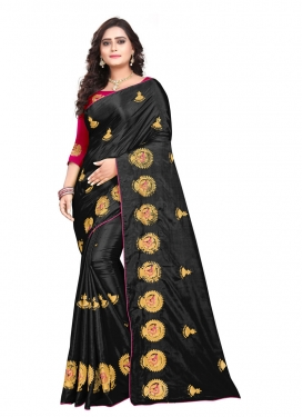 Black and Rose Pink Trendy Classic Saree