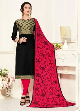 Black and Rose Pink Woven Work Trendy Churidar Salwar Suit