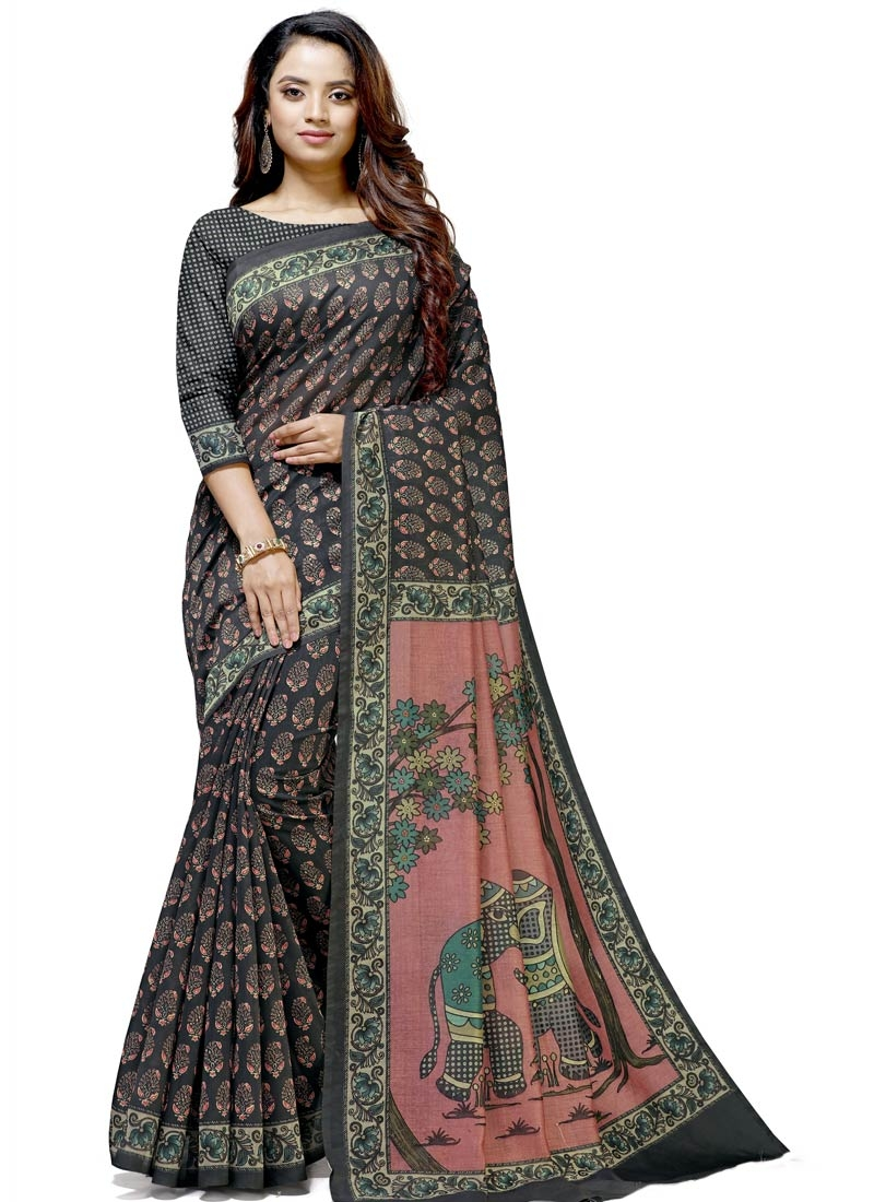 Black and Salmon Designer Contemporary Style Saree For Casual