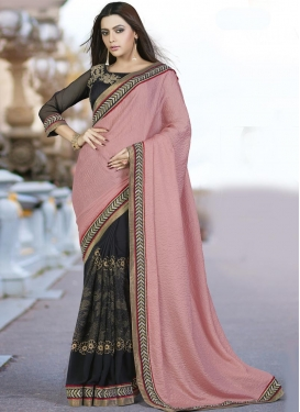 Black and Salmon Faux Georgette Half N Half Designer Saree For Festival