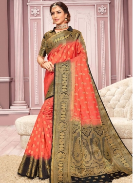 Black and Salmon Woven Work Contemporary Style Saree