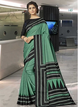 Black and Sea Green Art Silk Designer Traditional Saree