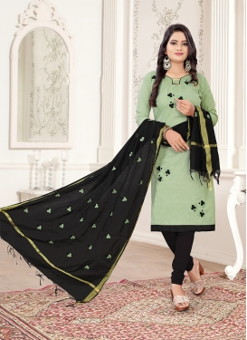 Black and Sea Green Cotton Casual Trendy Churidar Salwar Kameez