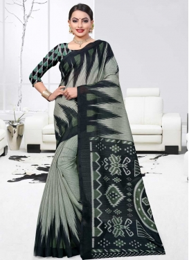 Black and Sea Green Print Work Traditional Designer Saree