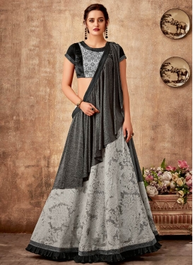 Black and Silver Color Resham Work Lehenga Saree