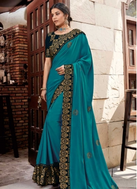 Black and Teal Designer Contemporary Style Saree For Festival