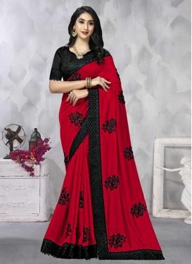 Black and Tomato Trendy Classic Saree For Ceremonial