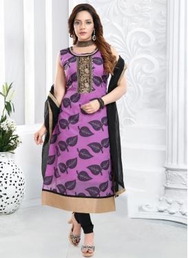 Black and Violet Banarasi Silk Readymade Churidar Salwar Suit