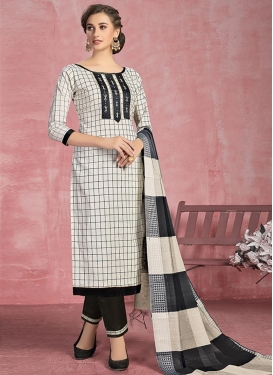 Black and White Cotton Pant Style Salwar Kameez