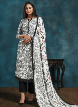 Black and White Crepe Silk Pant Style Pakistani Salwar Kameez