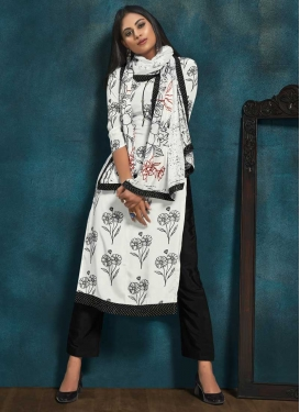 Black and White Pant Style Pakistani Salwar Suit For Festival