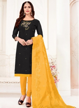Black and Yellow Embroidered Work Trendy Churidar Salwar Suit