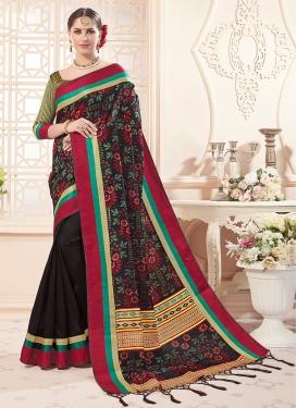 Black Art Silk Classic Saree