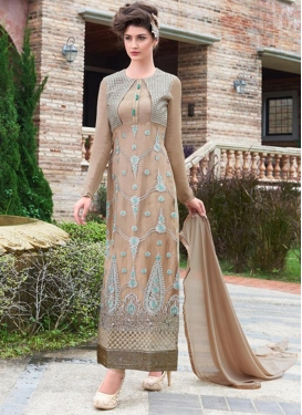 Blissful Booti And Resham Work Long Length Pakistani Suit