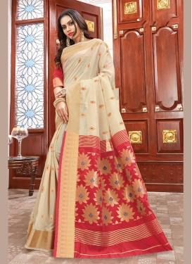Blissful Cream Party Traditional Saree