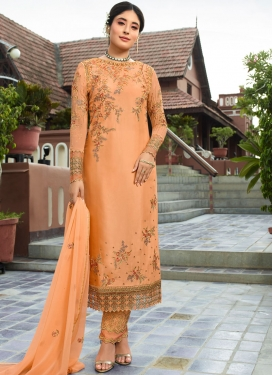 Blissful Embroidered Peach Georgette Pant Style Suit