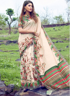Blissful Multi Colour Abstract Print Printed Saree