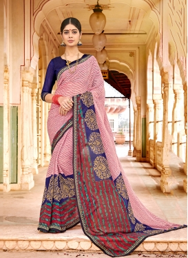 Blissful Printed Pink Casual Saree