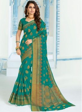 Blissful Sea Green Festival Traditional Designer Saree