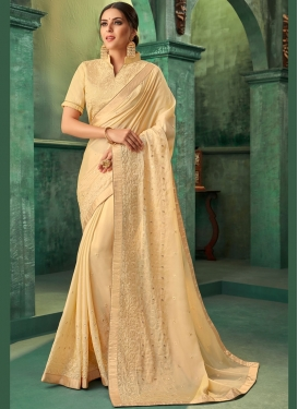 Blooming Cream Zari Classic Designer Saree