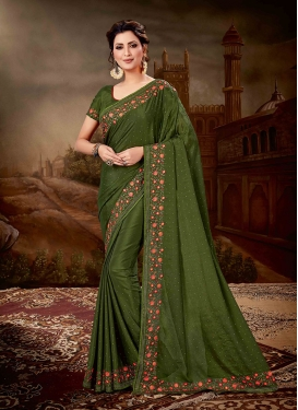 Blooming Embroidered Green Designer Saree