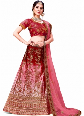 Blooming Silk Thread Work Trendy Lehenga Choli