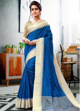 Blue and Cream Contemporary Style Saree For Ceremonial